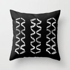 Vertical Three (White on Black) Throw Pillow