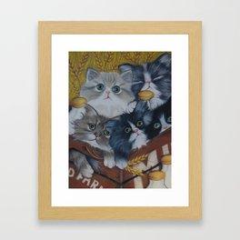 Crate full of kittens Framed Art Print