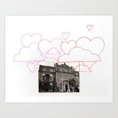 Heart clouds Art Print