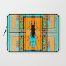 DOUBLE EXPOSURE TURQUOISE BEETLE ORANGE ART Laptop Sleeve
