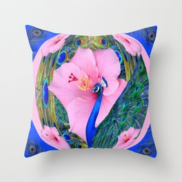 BLUE PINK HIBISCUS FLOWERS & BLUE-GREEN PEACOCK Throw Pillow