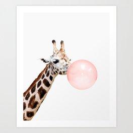 Giraffe with pink bubble gum Art Print
