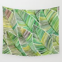 tropical Wall Tapestries featuring Tropical Green by Cat Coquillette