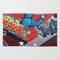 graffiti Area & Throw Rugs featuring graffiti by mark ashkenazi