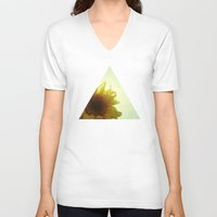 sunflower V-neck T-shirts featuring Sunflower by Cassia Beck