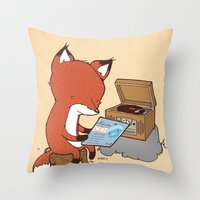 record Throw Pillows featuring Record Player by hatrobot