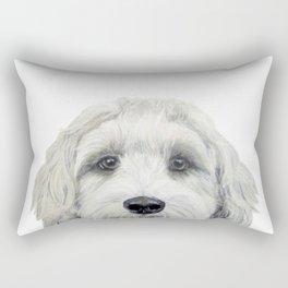 Labradoodle white by miart Rectangular Pillow