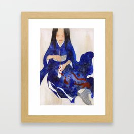 The Red candle and the Mermaid Framed Art Print