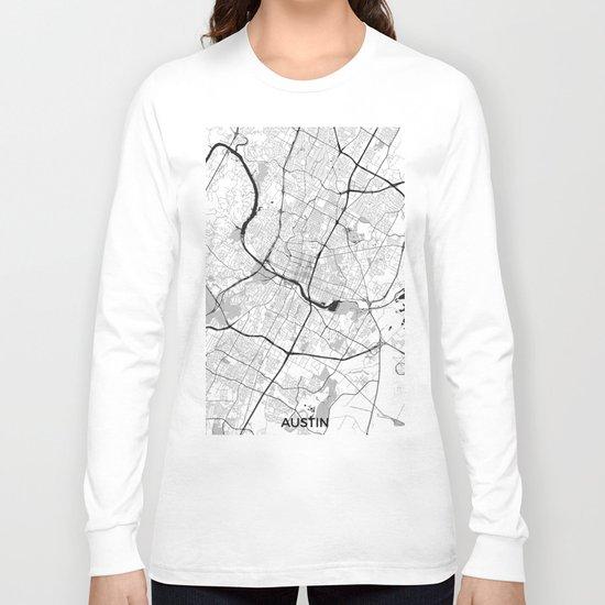 Austin Map Gray Long Sleeve T-shirt