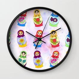 Adorable Russian Dolls Wall Clock