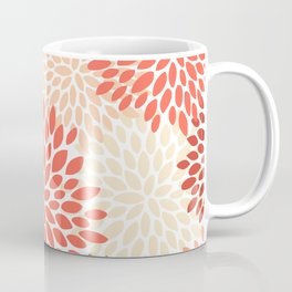 Floral Pattern, Living Coral, Peach Coffee Mug