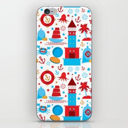 pattern with sea icons on white background. Seamless pattern. Red and blue iPhone Skin