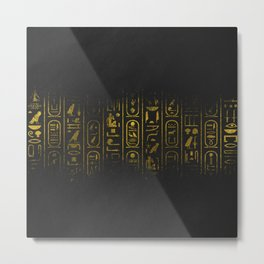 Grunge Egyptian Gold hieroglyphs on black paper Metal Print