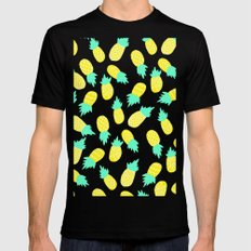 Modern tropical mint yellow pineapples black polka dots pattern illustration Mens Fitted Tee LARGE Black