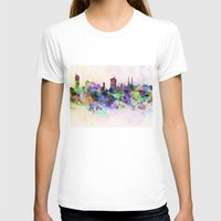 vienna T-shirts featuring Vienna skyline in watercolor background by Paulrommer