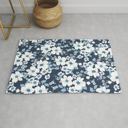 Elegant white navy blue pastel blue flowers Rug