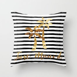 Palm Trees & Stripes - Just Maui'd Throw Pillow