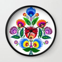 folk flowers ornament  Wall Clock