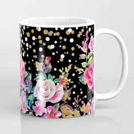 Modern watercolor spring floral and gold dots pattern Coffee Mug