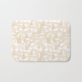 Whale Tail Beige White Abstract Art Bath Mat