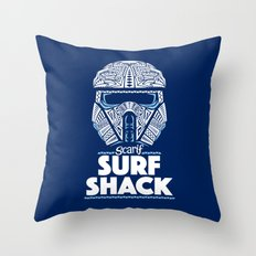 Space Surf Shack Throw Pillow