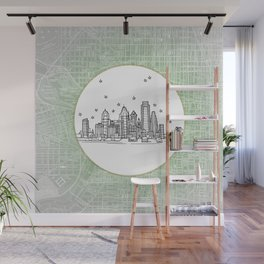 Philadelphia, Pennsylvania City Skyline Illustration Drawing Wall Mural