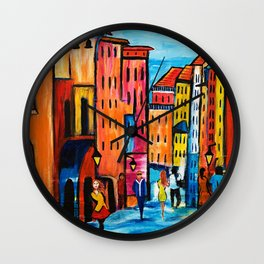 Afternoon Walk Downtown Wall Clock
