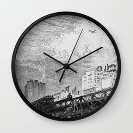 Men Working on Elevated Train Tracks, Looking at Airplane in Sky, etching, circa 1919 by Martin Lewis Wall Clock