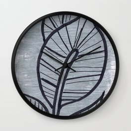 Black Leaves on Silvery Grey Wall Clock