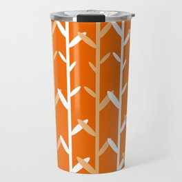 Oat Field Leafy Orange Pattern Travel Mug