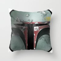 boba fett Throw Pillows featuring boba fett by designoMatt