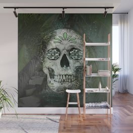 Palm Tree Beach Sugar Skull Wall Mural