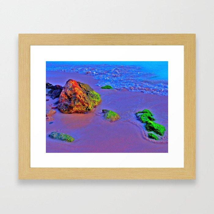 HyperColor Tidal Beach Rocks Framed Art Print
