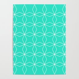Rhombus Pattern, Turquoise Green Poster