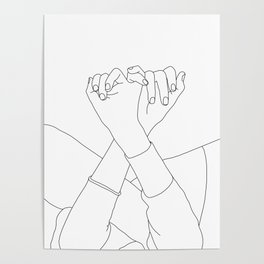 Line drawing illustration of linked fingers - Aisha Poster