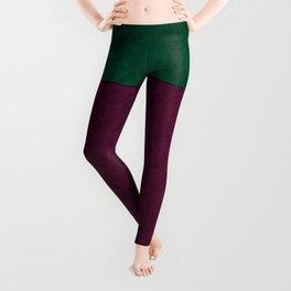 Green suede Leggings