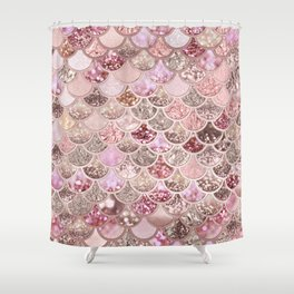 Rose Gold Blush Glitter Ombre Mermaid Scales Pattern Shower Curtain