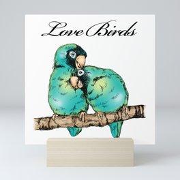 Colorful Love Birds Illustration Mini Art Print