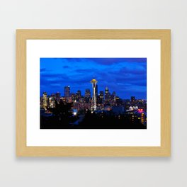 Seattle Skyline and Space Needle Framed Art Print