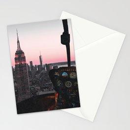 Helicopter Above New York City Skyline Stationery Cards