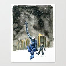 Moonbot #3: Blue Canvas Print