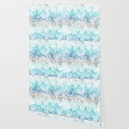 Light Aquamarine Mermaid Scales Waves Pattern Wallpaper