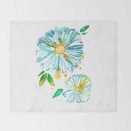 Lakeside Watercolour Blue Daisies Throw Blanket