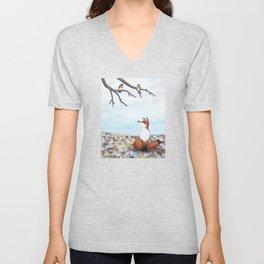 fox and eastern bluebirds Unisex V-Neck