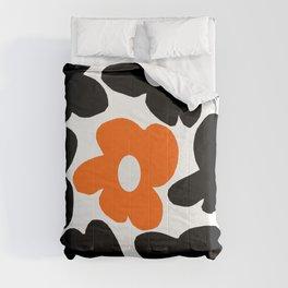 Large Orange and Black Retro Flowers White Background #decor #society6 #buyart Comforters