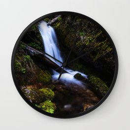 Waterfall in enchanted forest Wall Clock