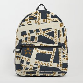 PARIS MAP GREY GOLD Backpack