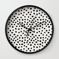 Wall Clocks featuring Preppy brushstroke free polka dots black and white spots dots dalmation animal spots design minimal by CharlotteWinter