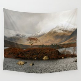 Lone Tree and Dusting of Snow in Mountains of Scotland Wall Tapestry