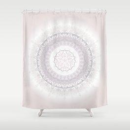 Floral Damask Mandala Blush White Shower Curtain